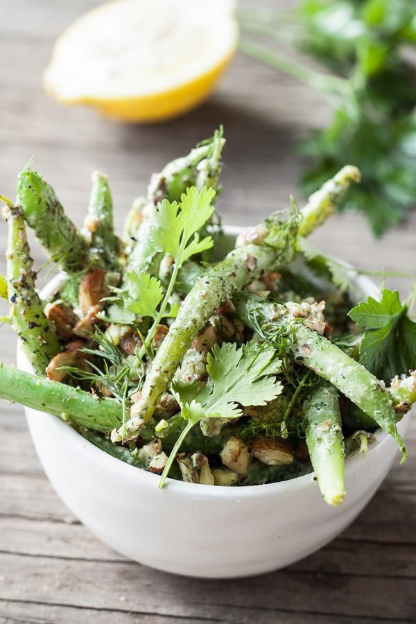 Green bean salad with herb tahini dressing and toasted almonds