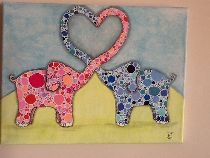 These Elephants make a lovely painting and they form a heart with their trunks. Great gift for babies or children.  They are for sale in my Etsy shop for only $50.00.  Click on the link below to go and check it and my other art https://www.etsy.com/shop/WhimsyArtbyElizabeth