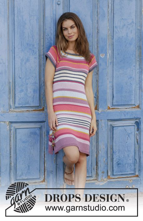 Verona / DROPS 187-1 - Dress with stripes, raglan and vent in the sides, worked top down. Size: S - XXXL Piece is knitted in DROPS Paris.