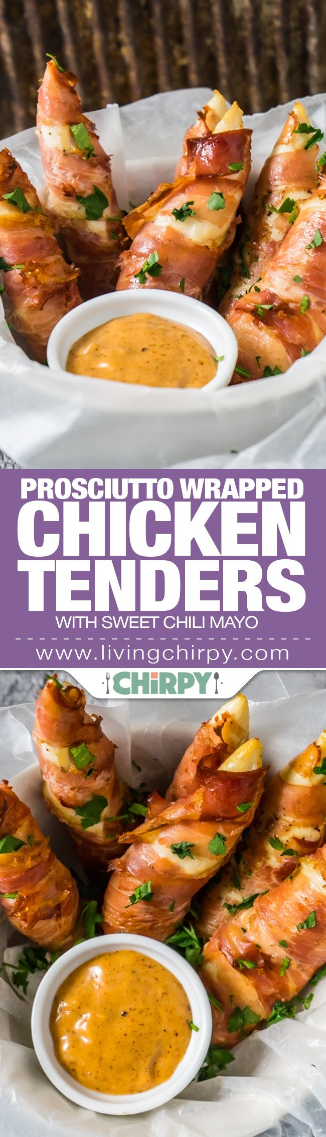 Prosciutto Wrapped Chicken Tenders with Sweet Chili Mayo.