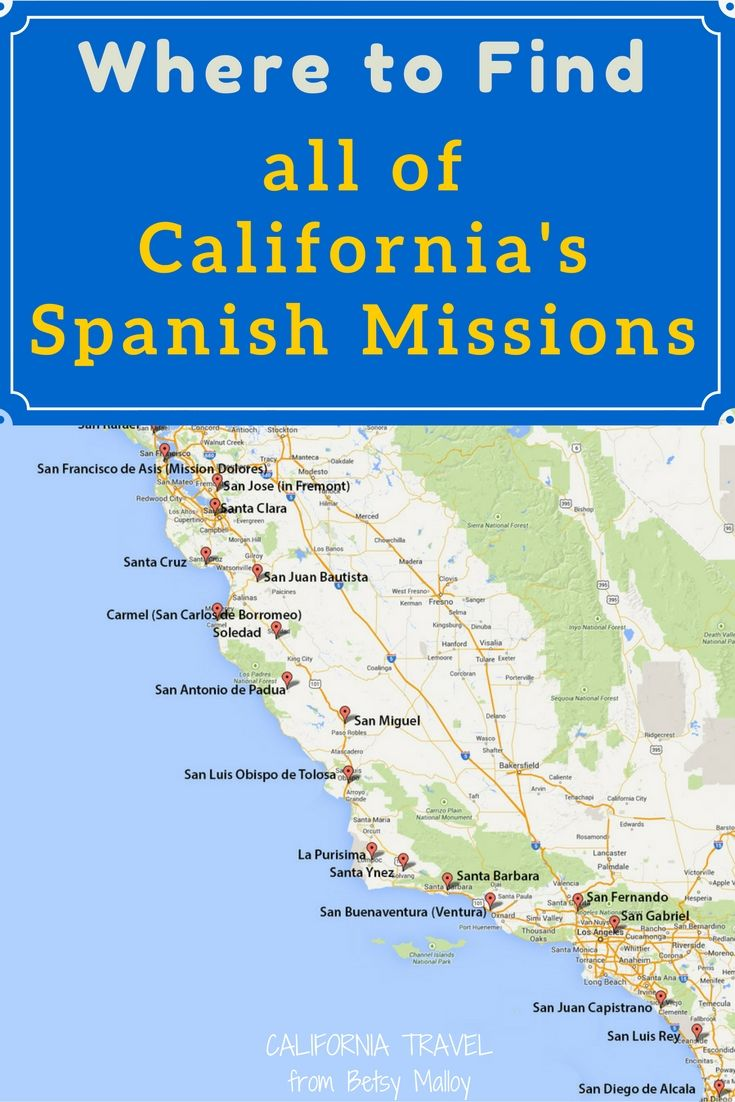 Just for your fourth grade project, a map of all the California missions to use and consult.