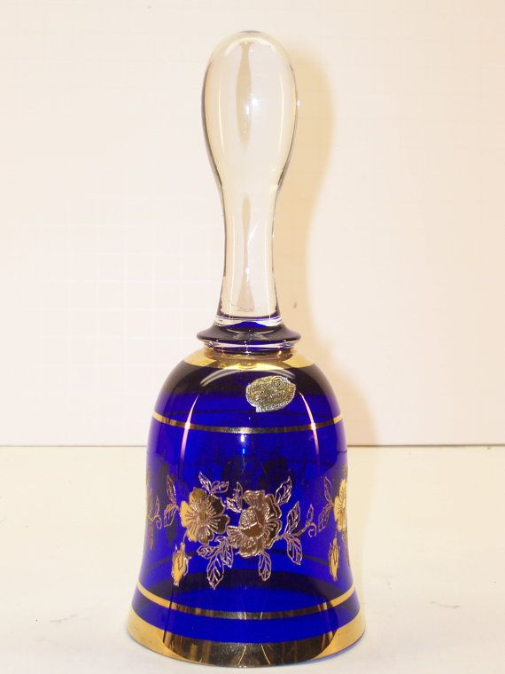 Bohemia Crystal Cobalt Blue Glass Bell Gold Gilt Made in Czechoslovakia  GarageSaleGlass, $27.99