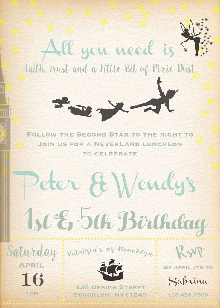 Printable-Birthday-Boy-Girl-Invitation-Peter Pan-Tinkerbell-Neverland-Wendy-Pixie-Pixie Dust-Pirate-Flying-Party-Custom-Stars-Vintage feel by KEDDESIGNS on Etsy https://www.etsy.com/listing/286849595/printable-birthday-boy-girl-invitation