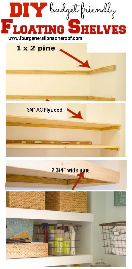 "DIY cubby area ""floating"" shelves, Great use of storage above side by side washer and dryer"