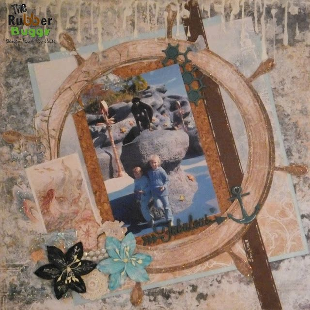 Bee Cee Creativity: 'Fabulous' layout using Blue Fern Studio Seaside Cottage Collection from The Rubber Buggy