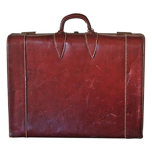 Vintage Leather Suitcase - $195.