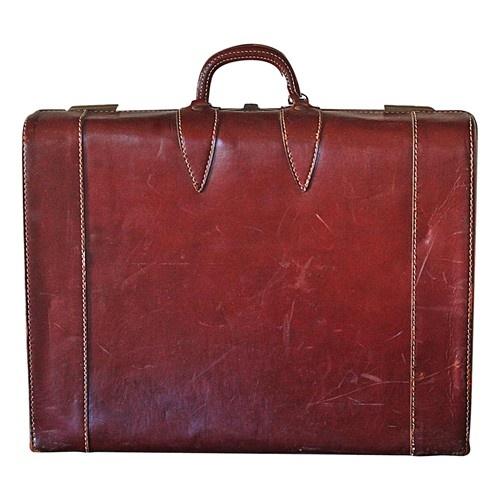 Vintage Leather Suitcase - $195.