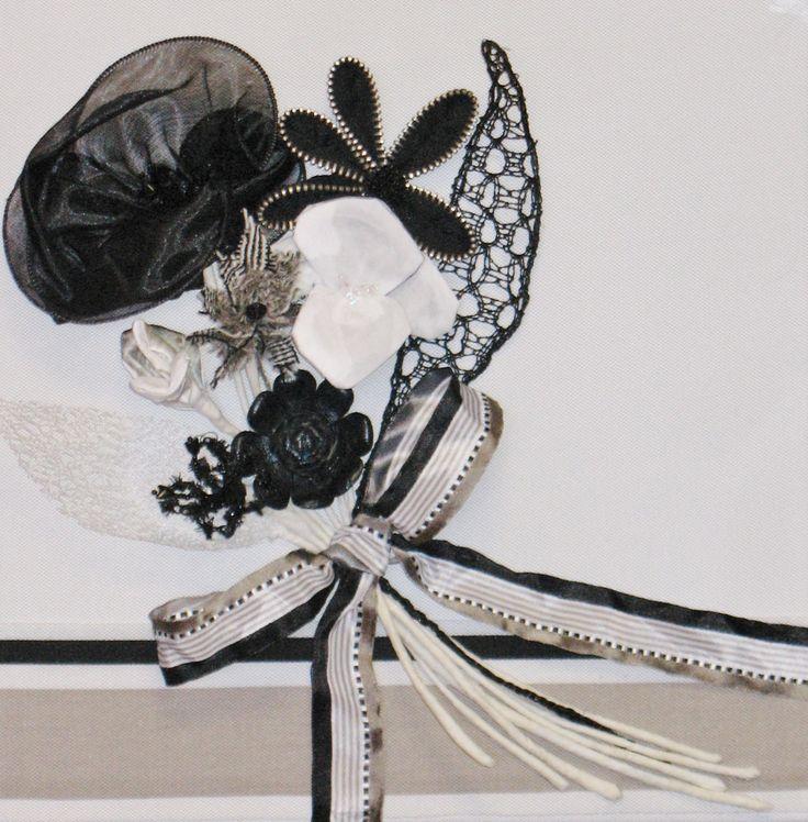 fibre art by Cheryl Ford titled Black Ascot