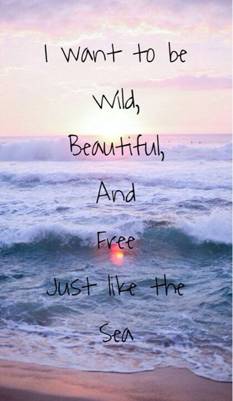 I want to be wild,beautiful,and free just like the sea. I want to be wild,beautiful,and free just like the sea.