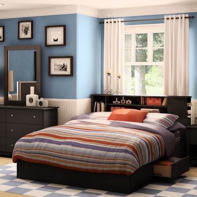 Found it at Wayfair - Vito Queen Mate's Bed with Drawers and Bookcase Headboard