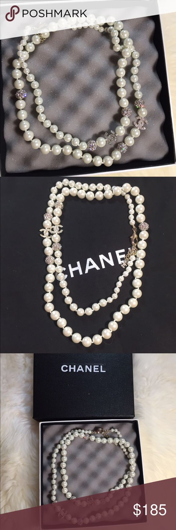 Cute long Pearl necklace New with Chanel box.Super shiny Crystal beads with Pearl necklace.With stamp on the chain ,inspired fashion jewelry only in super high quality.Price is firm but bundle to save. Jewelry Necklaces