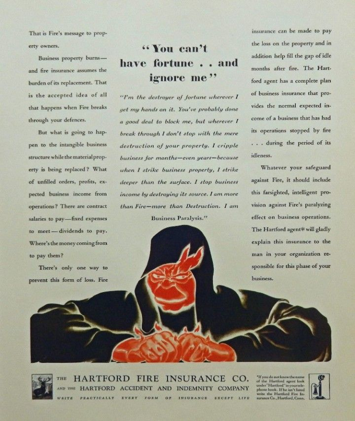 Hartford Fire Insurance Co 1930 print ad Illustration you
