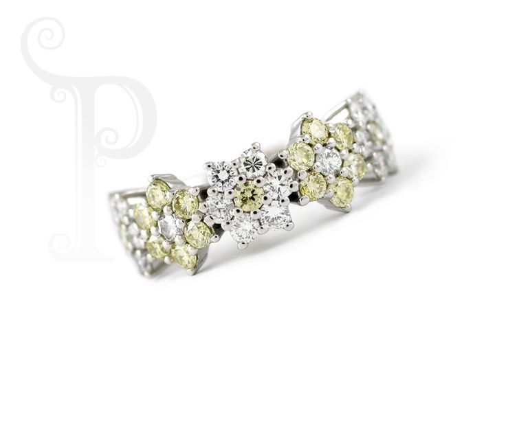 !8ct White Gold Daisy Eternity, Set With Fancy Yellow And White Diamonds