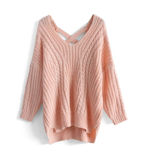 Chicwish Sunny Afternoon V-neck Sweater in Pink ($53) ❤ liked on Polyvore featuring tops, sweaters, pink, cross sweater, acrylic sweater, pink top, cross tops and v neck sweater