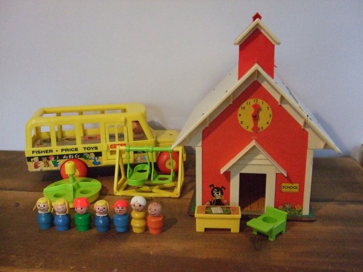 Vintage Fisher Price Play Family School, Bus, Accessories
