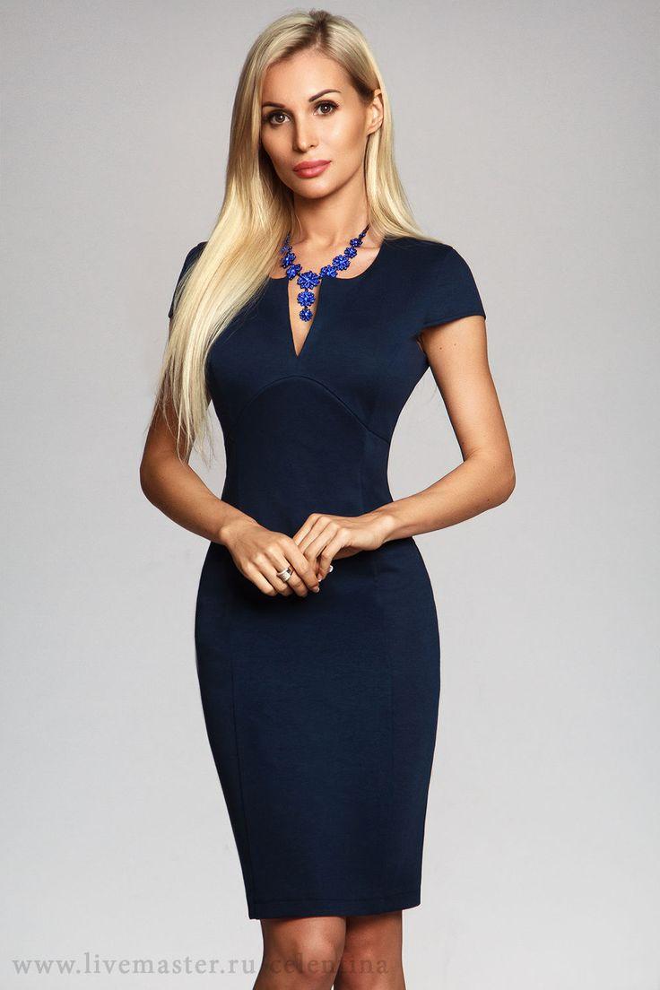 Купить Платье футляр, синее платье, офисный стиль, платье коктейльное, платье - платье футляр