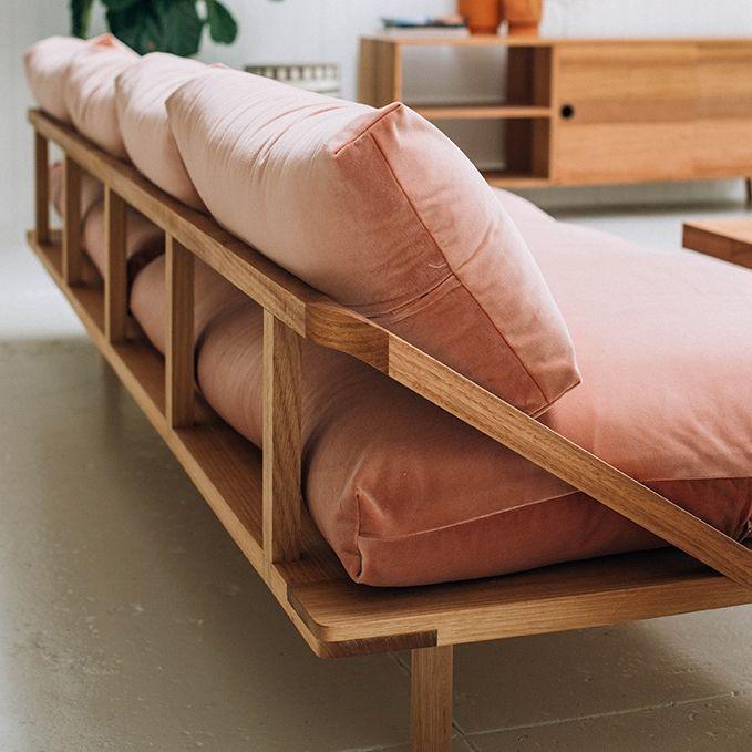 Back detail of the Pop & Scott Dreamer Couch in Rose Pink Velvet.  Photo by Bobby + Tide