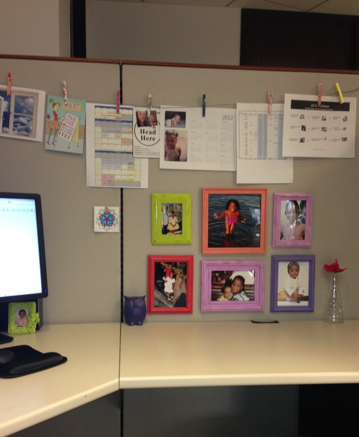 work office decorations. cubicle decor clips on a banner and the multicolor frames work office decorations
