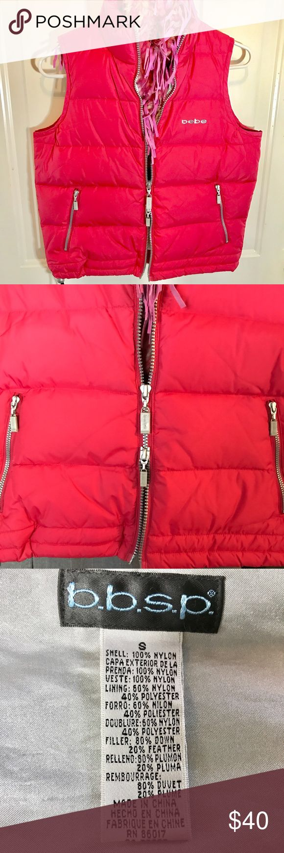 """Bebe Pink Down Puffer Vest In great condition this double silver zip up and from the bottom vest is 80% Down and 20% Feather. Gorgeous pinky red color nylon. Soft silver metallic lining. Two zip pockets. Two adjustable pulls at the bottom. Size Small. Pit to pit 18"""". Length 20"""".  ✨💞 Bebe Jackets & Coats Vests"""
