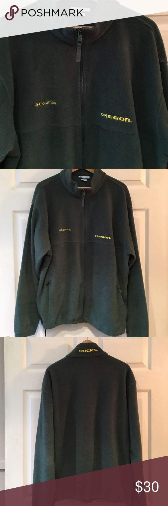 Men's Columbia Oregon Ducks Fleece Coat 100% Polyester and in excellent condition!  Hubby is no longer a size XL.  Must sell to fund replacement Duck wear!  Sorry, not many tees available as we had an Oregon Duck quilt made!  Go Ducks! Columbia Jackets & Coats Performance Jackets