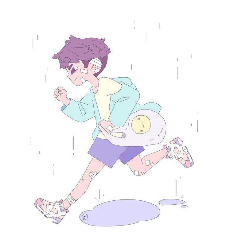 sarlis (Pastel aesthetic running cartoon boy)