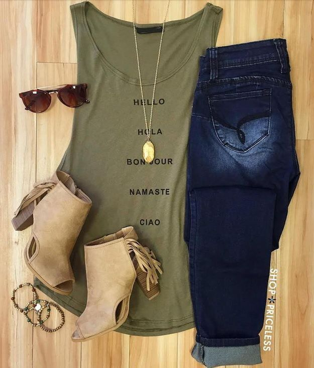 Army Green Beige Boots Jeans Outfit