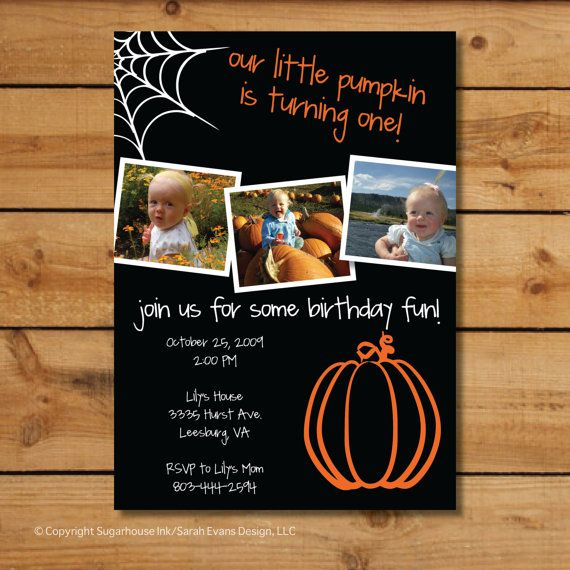Babys First Birthday Invitations  Halloween by sugarhouseink, $15.00