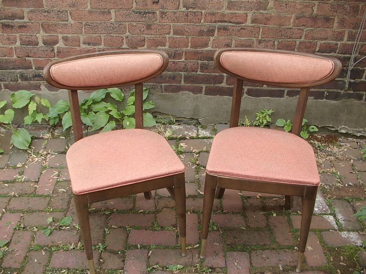 Vintage 1960's Mid Century Modern dining chairs pair, Bianco Danish Modern chairs, Salmon pink dining room furniture, mid century decor by ShoponSherman on Etsy https://www.etsy.com/listing/191464640/vintage-1960s-mid-century-modern-dining