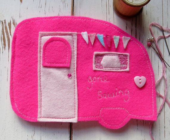 Handmade needle case - machine stitched - needle book - machine embroidered - vintage caravan - sewing accessory - pink caravan - uk seller