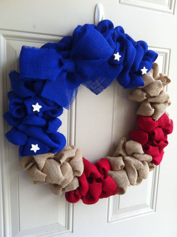 Large Burlap wreath Red White & Blue Military Support Military Decor  20 inches on Etsy, $33.00