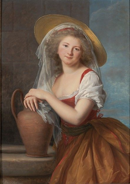 Using red and golden browns in a painting both pastoral and Neoclassical in inspiration, Vigée Le Brun presents the marquise (1766–1837) as a milkmaid. She wears a straw hat and a tightly cinched bodice over a chemise, with a wide skirt