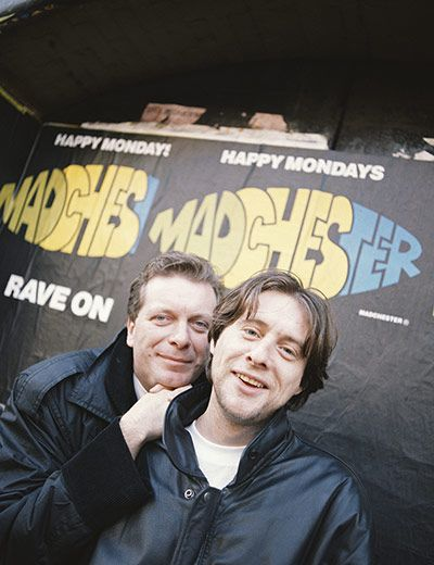 Credit: Kevin Cummins/Getty Images Factory Records boss and Hacienda founder Tony Wilson with Shaun Ryder of the Happy Mondays, circa 1989