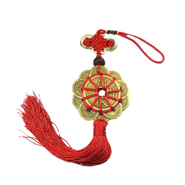Chinese Feng Shui Lucky 5 Emperors Coins Red Tassel for Good Fortune Pendant