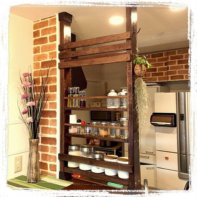 女性で、4LDKのハンドメイド/DIY/ディアウォール/キッチンについてのインテリア実例を紹介。「リビング側」(この写真は 2015-08-01 23:25:51 に共有されました)