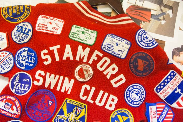 Varsity swim club jacket with patches sewn on - Beyond Retro Vintage Clothing Archive