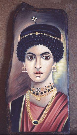Πορτρέτο Φαγιούμ (Το κορίτσι με τα κοσμήματα) ακρυλικό σε καμβά και ξύλο