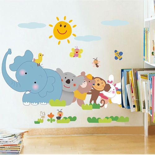 Luxury Cheap Wall Decals New Child Elephant Monkey Animal Kid us Room Wall Sticker KidsWalldecals