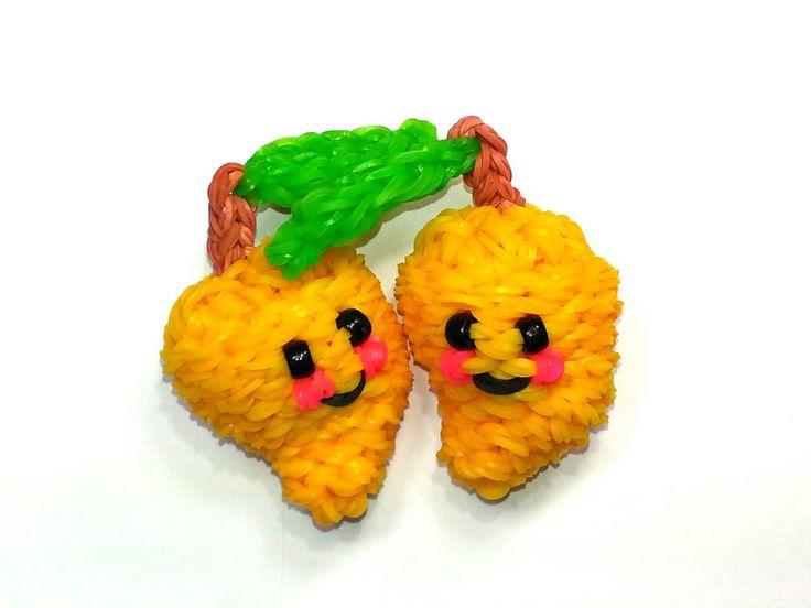 3-D Happy Mango Tutorial (Rainbow Loom) by Feelin' Spiffy.