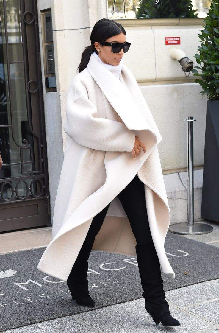 Kim Kardashian - Cream Coloured Chloe Jacket, Black Pants & Boots - More of the outfit, also loving the boots!