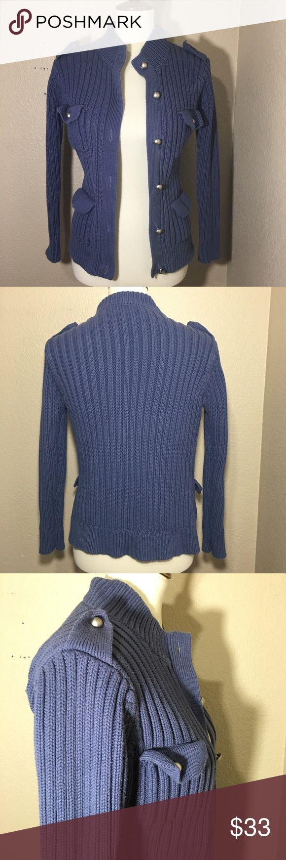 Topshop PETITES Chunky Military Knit Sweater Topshop PETITES Chunky Military Knit Sweater  Blue - Gray Color (the photos make the color look slightly darker than in real life)  Pre - owned, in great condition, no stains, rips etc.  Size Petite (Small) Topshop PETITE Sweaters Cardigans