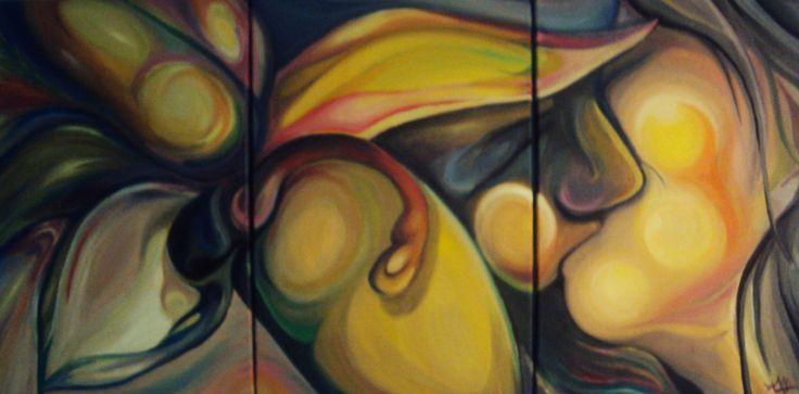 Obra dividida en 3 cavas. Pensada para una pieza de mujer.