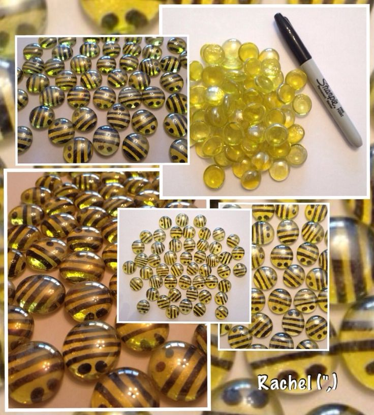 "Glass nugget bees - originally made for counting, but used in other ways too - from Rachel ("",)"