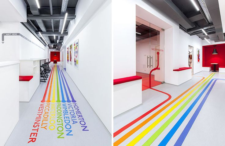 Colorful lines on the floor (this particular design was inspired by the London Underground)