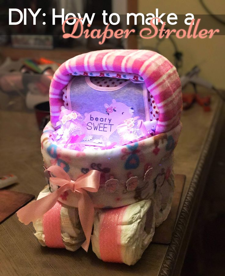 After Wedding season, it's Baby season! This was our first time making a Diaper stroller. It was the Perfect gift and the perfect centerpiece for the party! Added a bit of string lights to make it pop out.  Love it!
