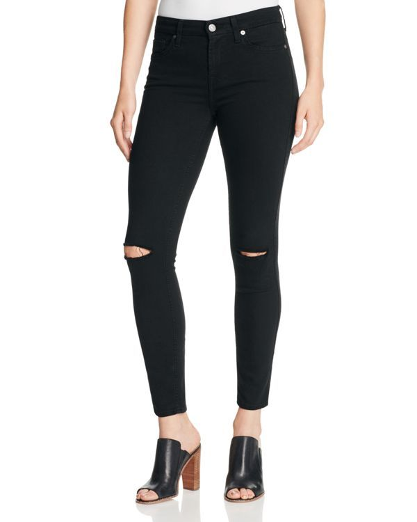 Lily loves ripped knee skinny jeans black