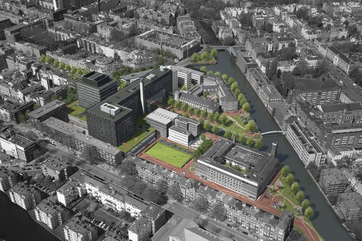 Roeterseiland Campus – University of Amsterdam, Birds-Eye-View Graphic by Petra Blaisse
