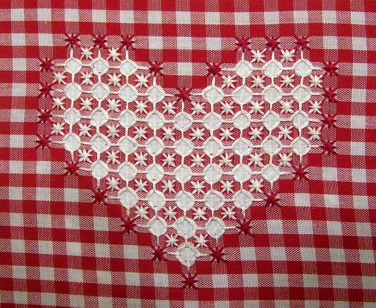 Chicken Scratch Embroidery Heart. I like the way the white squares on the check fabric have been cleverly outlined to create the impression of a decorative solid.