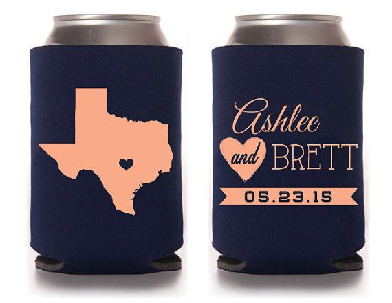 Custom Wedding Koozie - Haha of course this is my first pin to the wedding board. I think these are cute and would be a fun give away. There are a ton of colors too,