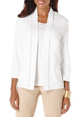 Rafaella Women's Petite Open Front Cardigan - White - Ps