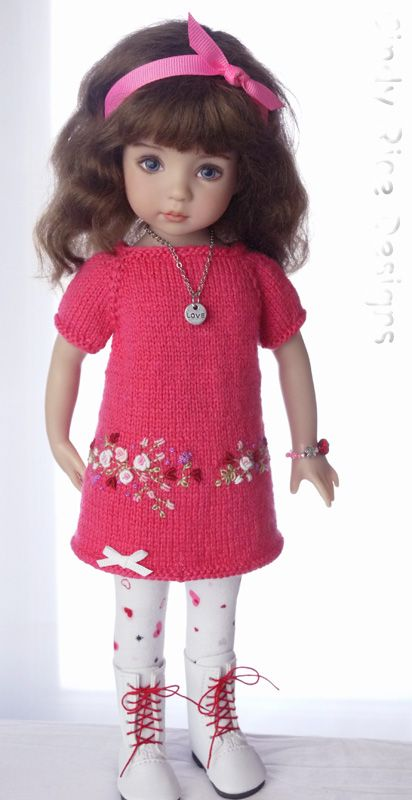 """Sweethearts & Roses"", a hand knit and embroidered sweater dress ensemble made for Dianna Effner's Little Darling dolls, cindyricedesigns.com:"